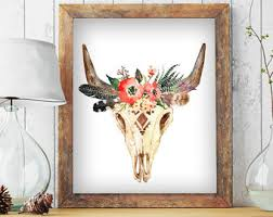floral steer skull framed wall art