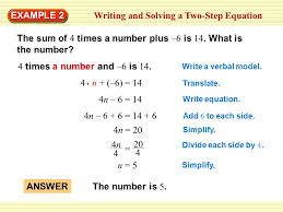1 writing and solving a two step equation