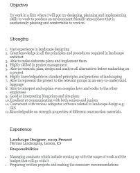 Landscaping Skills Sample Resume For Examples Basic 7 Architect