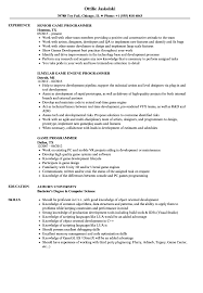 Game Programmer Resume Samples Velvet Jobs