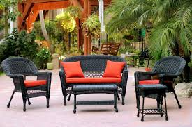 image black wicker outdoor furniture. CC Outdoor Living 5-Piece Black Resin Wicker Patio Chair, Loveseat \u0026 Table Furniture Image