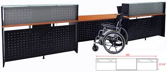 2 person glass top wheelchair accessible reception desk