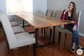 To make the bench, make the end assemblies by cutting a 6 degree angle on the top ends of the legs. Diy Live Edge Dining Table Diy Huntress