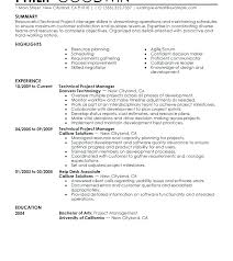 Project Manager Resumes Examples Sample Of Resume Resume Sample ...