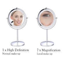 costway 7 double sided makeup mirror 18 led lights 3x magnification vanity beauty