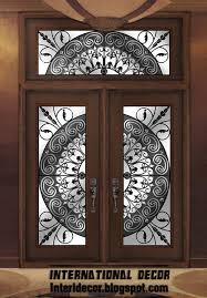 american wooden door with stained glass and iron international door
