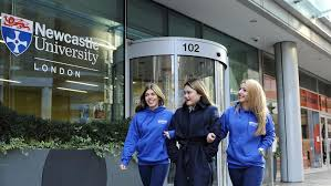 study business in london at newcastle university london students outside newcastle university london