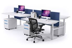 person office. Sit-Stand - 4 Person Workstation Electric Height Adjustable Stand-up [1200L X Office