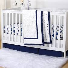 navy blue elephant stars pleated 3 piece crib bedding set by the peanut shell