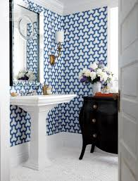 small bathroom ideas modern. The Blue And White Wallpaper Design Brings On Geometric In A Crisp, Bold Look That Can Swing Both Traditional Modern Depending What Is Paired Small Bathroom Ideas