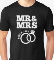 34th wedding anniversary gift t shirt mr mrs since 1983 uni t shirt
