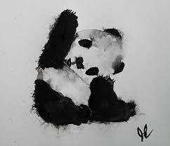 Amazoncom Original Panda Bear Watercolor Painting Original