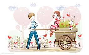 love couple cartoon cute boy bunny hearts hd widescreen wallpaper
