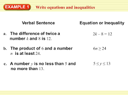 example 1 write equations and inequalities verbal sentence equation or inequality a