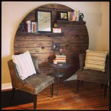 upcycled wooden cable spools feature wall