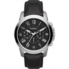 fs4812 grant fossil mens watch watches2u fossil fs4812 mens grant black leather chronograph watch