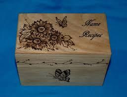 Decorative Recipe Box Essenceofthesouth Recipe Box Wood Burned Wood Recipe Card Box 18