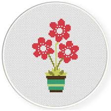 Charts Club Members Only Flower Pot Cross Stitch Pattern