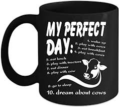 Be the first to write a review! Amazon Com My Perfect Day Wake Up Play With Cows Coffee Mug I Love Cows Mug Cows Make Me Happy Coffee Cup Coffee Mug 15 Oz Black Kitchen Dining