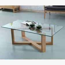 felix rectangular coffee table glass solid oak 120x60x40cm