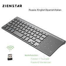 Zienstar 2.4G Keyboard Mini Nirkabel dengan Touchpad dan Numpad untuk  Windows PC Laptop Ios Pad Smart TV HTPC IPTV Android Box Keyboards