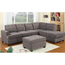 modern sectional sofas microfiber.  Modern 2 Piece Modern Reversible Grey Tufted Microfiber Sectional Sofa With Ottoman To Sofas G