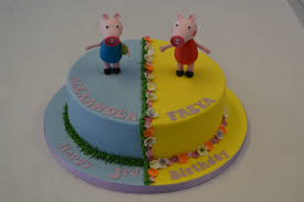 George Pig And Peppa Pig Split Cake Childrens Birthday Cakes