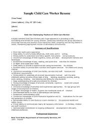 Child Care Resume Summary Sample Child Care Worker Resume ...