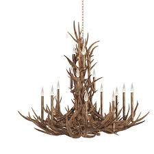 tall spruce mule deer antle through real antler chandelier