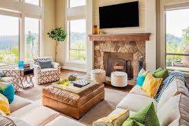 luxurious living room with television and fireplace
