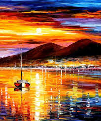 naples sunset above vesuvius palette knife oil painting on canvas by leonid afremov