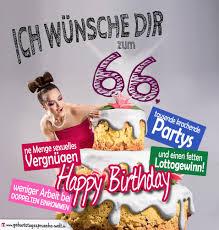 Glückwünsche Geburtstagskarte 66 Geburtstag Mit Torte