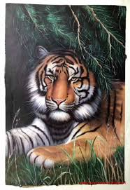 tiger face oil painting for wall decor
