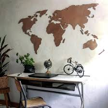 wooden 3d worldmap mahogany wall