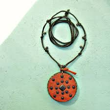 suede necklace knotted long cord with mirror and recycled leather pendant product images of