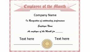 Printable Employee Of The Month Certificates Salesman Of The Month Certificate Template 30 Printable