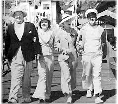 Oliver and Myrtle Hardy and Stan and Ruth Laurel enjoying a day at the pier  on Catalina Island | Laurel and hardy, Stan laurel oliver hardy, Hardy