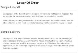 7 Sample Letter Of Error Sample Letters Word