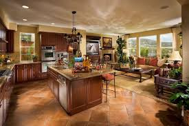 Open Kitchen Living Room Design Brown Fence Color Closed Plants In Backyard Pool Designs With