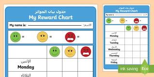 Editable Reward Chart Reward Chart Arabic English Eal Editable Reward Chart