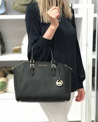 michael kors ciara large black satchel saffiano leather bag