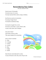 colors of the rainbow worksheet. remembering your colors \u2013 reading comprehension worksheet of the rainbow n