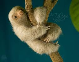 needle felted sloth toy wool sloth needle felt sloth gift cute sculpture small sloth two toed sloth ecofriendly
