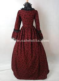 ball gown costume. dark red and black cotton printed gothic victorian masquerade ball gown costume for halloween