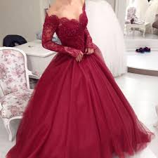wine red wedding. New Burgundy Lace Ball Gown Prom DressesLong Sleeves Wine Red