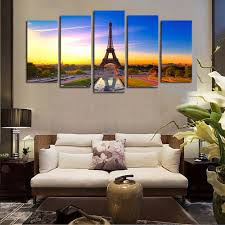 Wall Art Paintings For Living Room Aliexpresscom Buy 5 Panels Canvas Print Paris City View