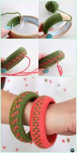 diy woven yarn bangles instruction yarn crafts no crochet