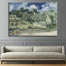 canvas wall art hd prints painting 1 panel thatched cottages landscape poster living room decor impressionism