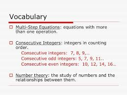voary multi step equations equations with more than one operation consecutive integers