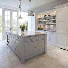 Kitchen Floor Units Pale Grey Units With White Wall Units In Shaker Style Gives An